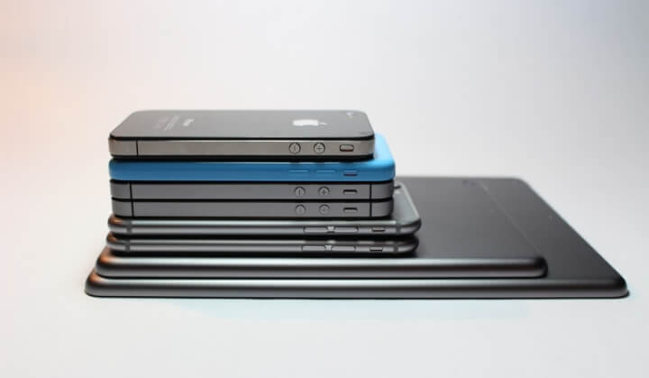 Apple iPhones and iPads Stacked Together