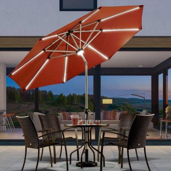 Solar powered umbrella sun shade